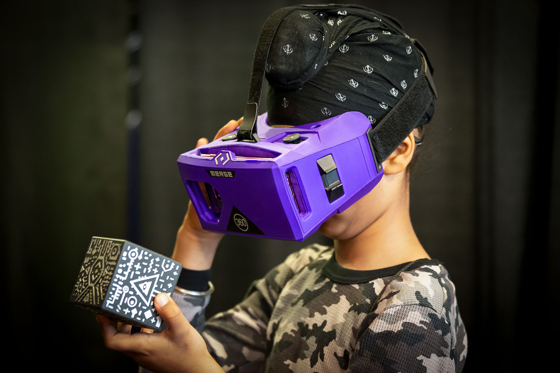 A youngster interacts with virtual reality