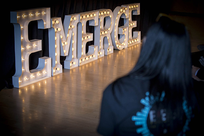 The Emerge sign