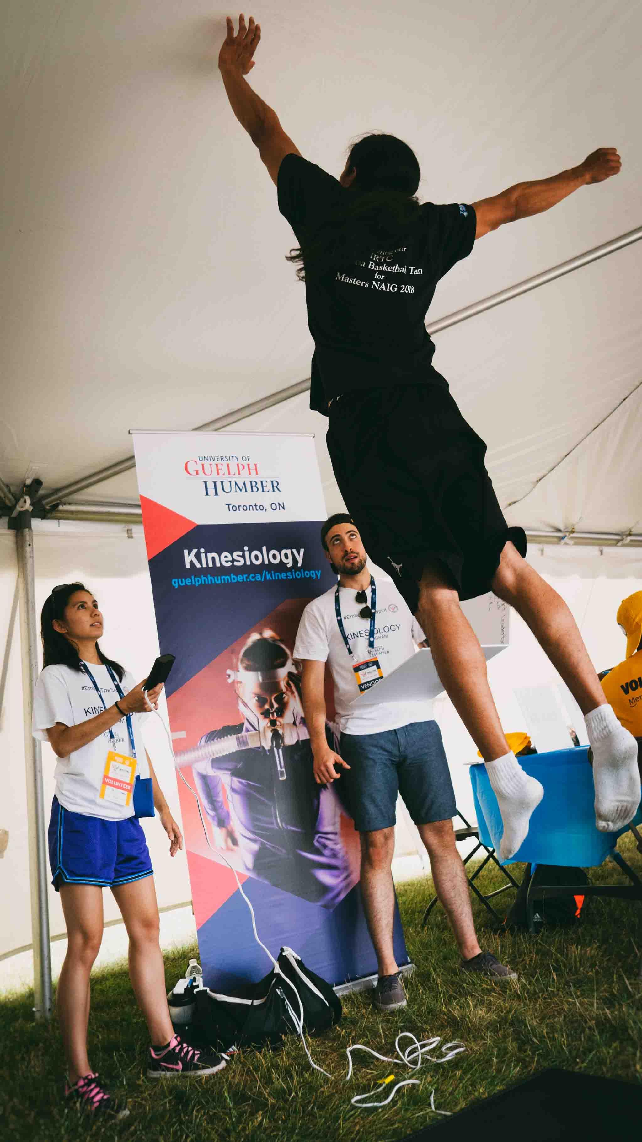 An athlete tries the vertical jump test