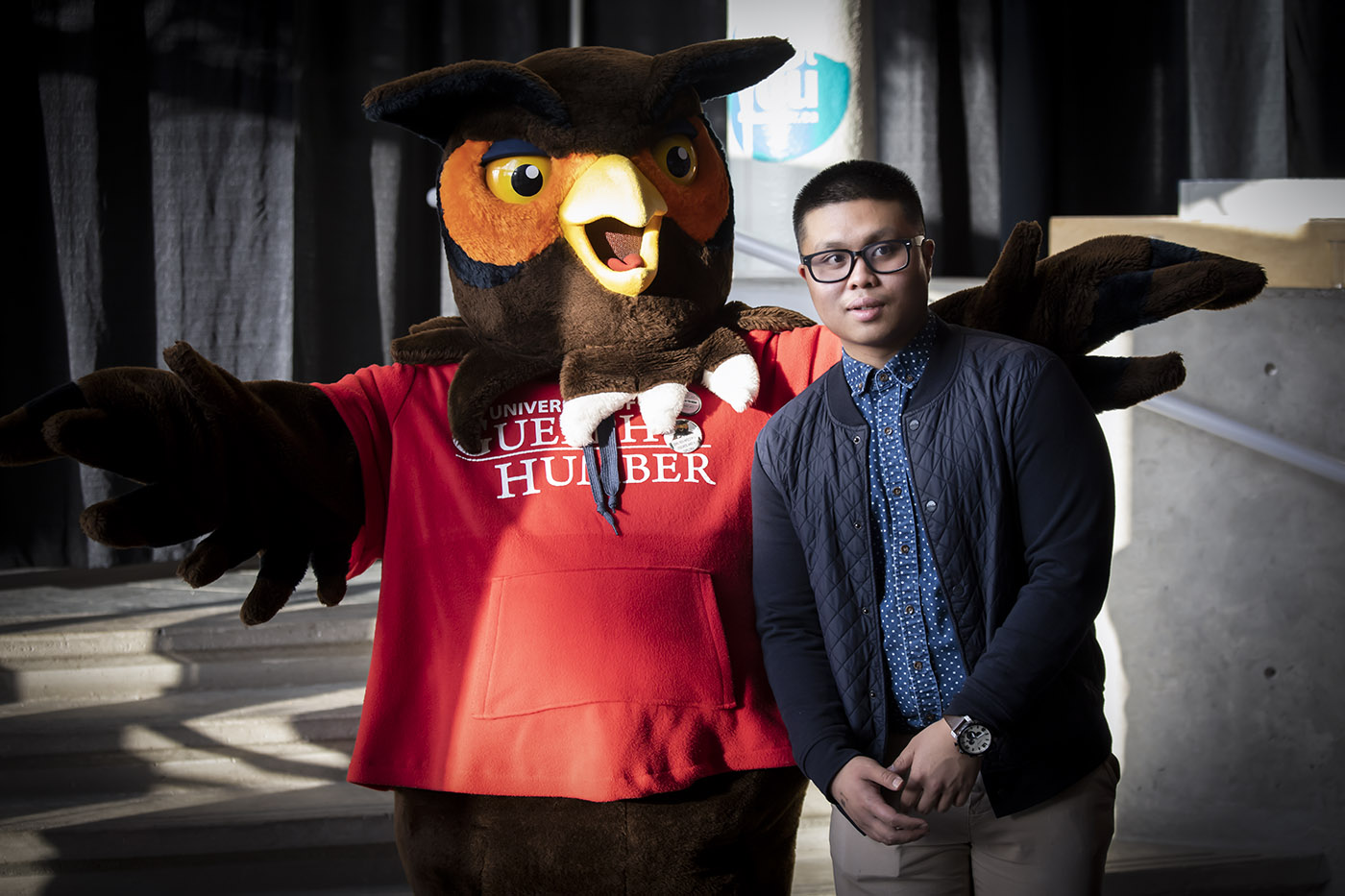 A student poses with Swoop
