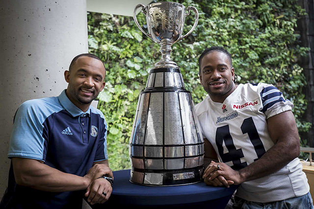 Matt Black and Jonathan Hood with the Grey Cup