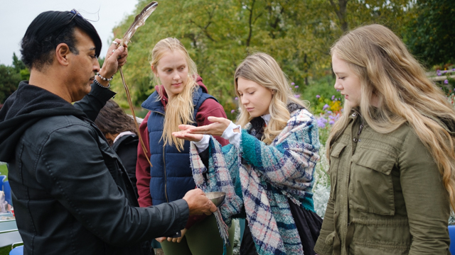 Students participate in smudging ceremony