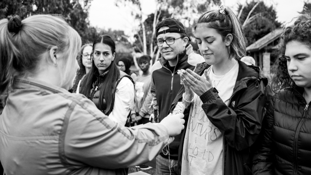 Students at smudging ceremony