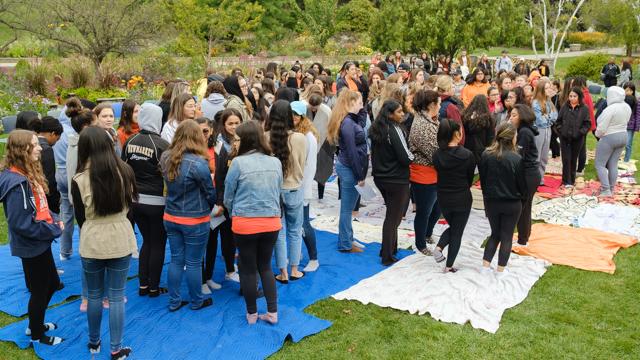 Students begin Blanket Exercise