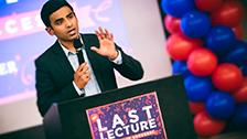 Student speaking at podium.