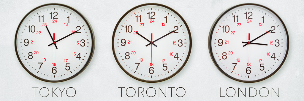 Clocks showing different time zones.