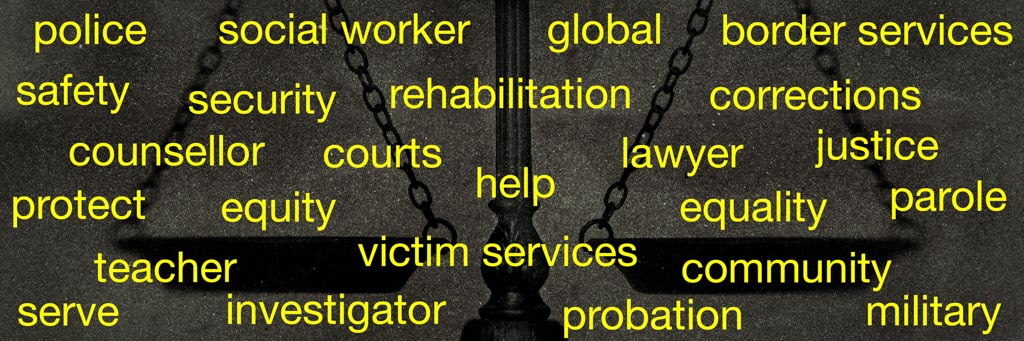 Job titles and descriptions superimposed over scales of justice.