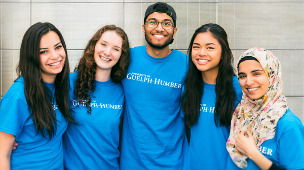 Five University of Guelph-Humber students embrace on campus