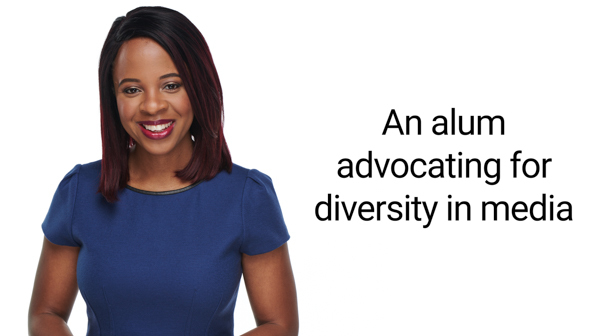 Text that reads: An alum advocating for diversity in media