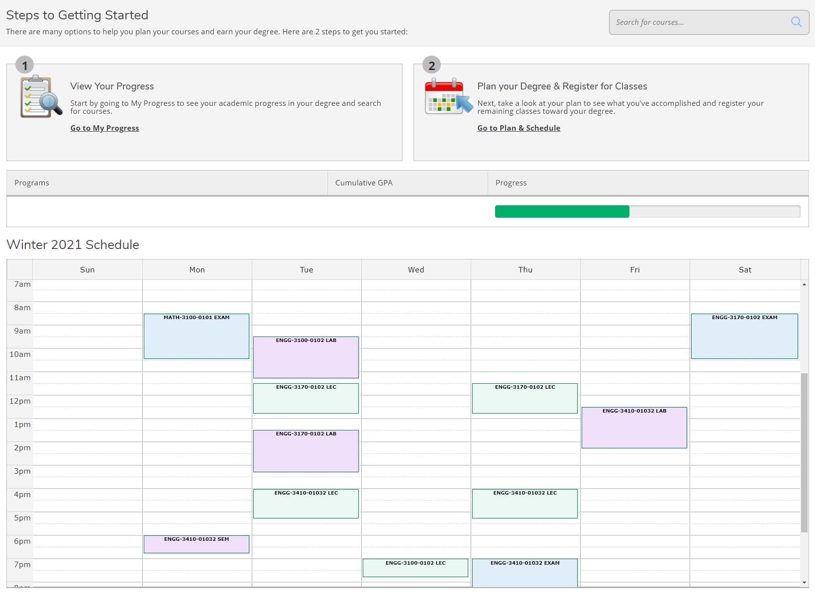 Student Planning Timetable Screenshot