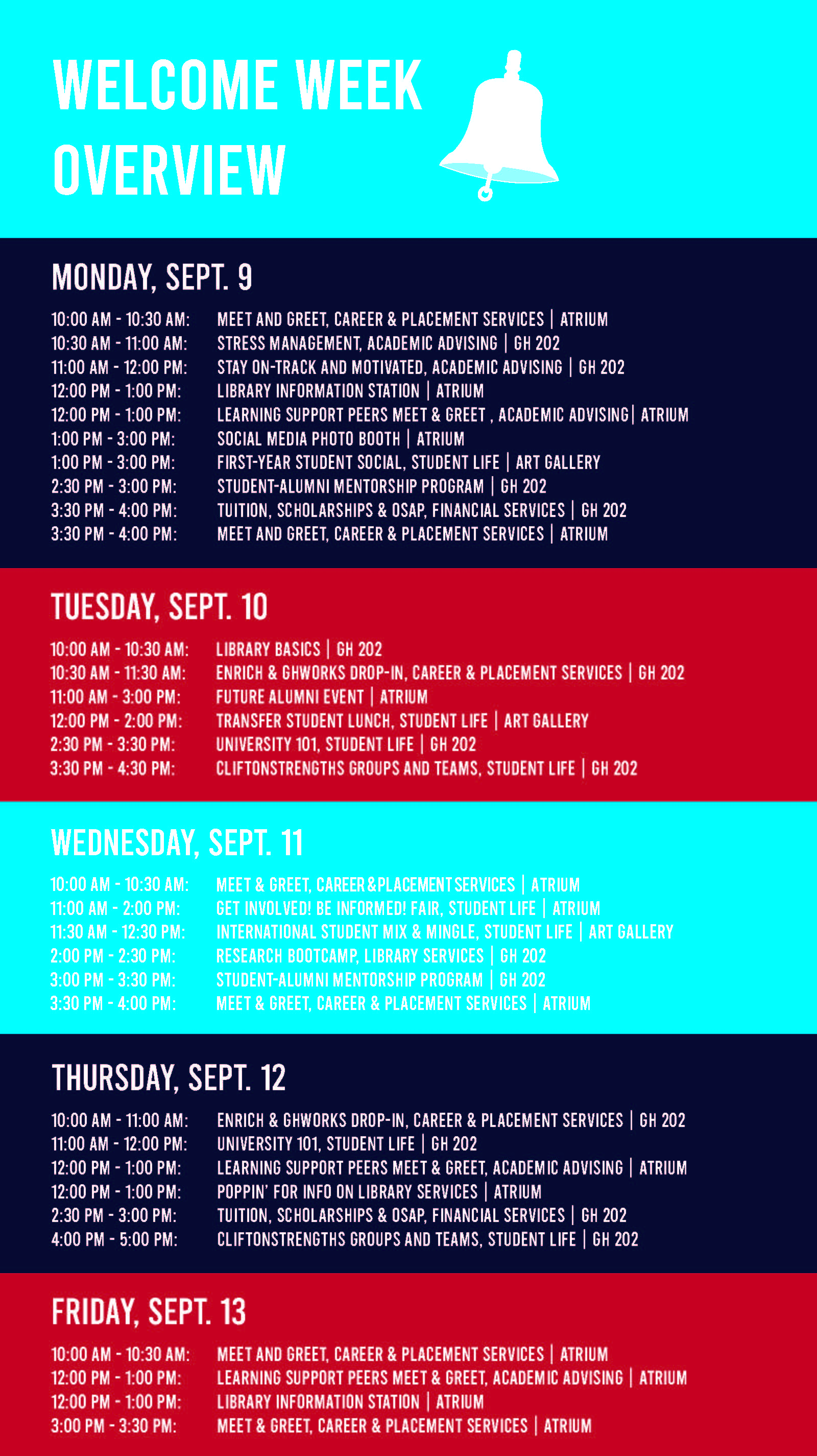Welcome Week schedule