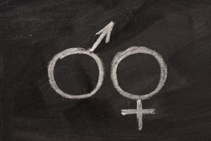 Gender symbols drawn on chalkboard