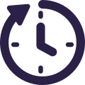 Icon: Clock face with clockwise arrow
