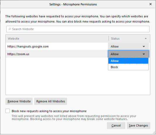 Settings window for Microphone Permissions, showing a website address set to Allow