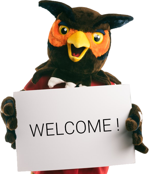 Owl mascot holding a Welcome! sign