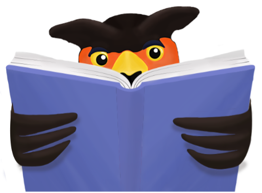 UofGH mascot Swoop reads a book