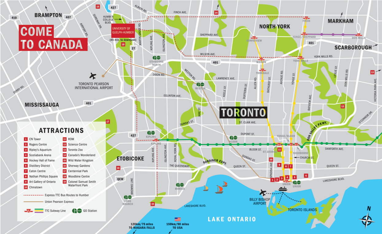 Map of Toronto with attractions