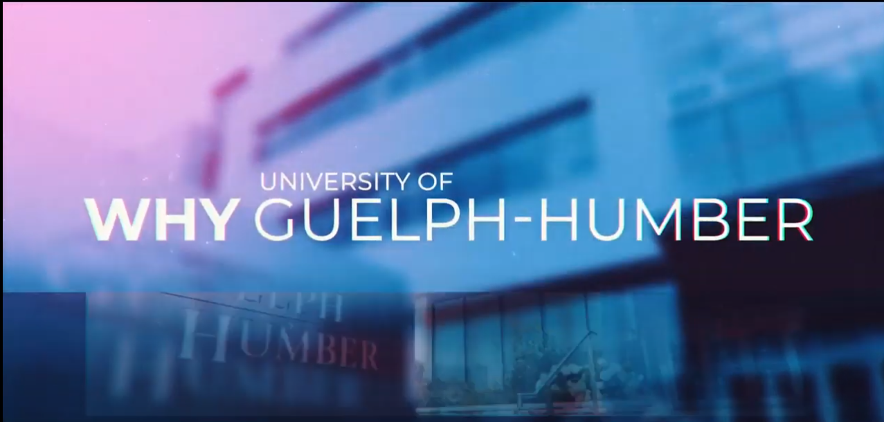Why UofGH text over the blurred image of university building